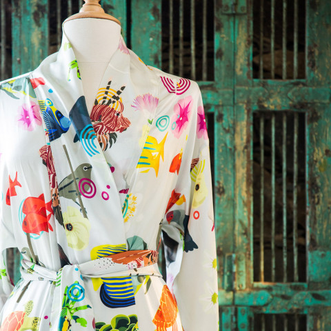 a colorful and elegant personalized north island robe just for you