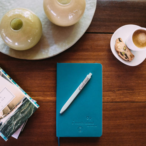 Custom mole skin journals and pens, ideal for you to jot down your North Island memories