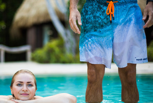 Relax at the pool in your North Island swim trunks
