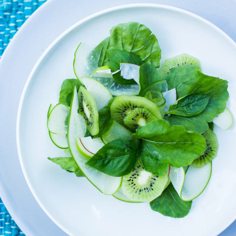 Natural greens fill your plate with this crisp apple and kiwi salad