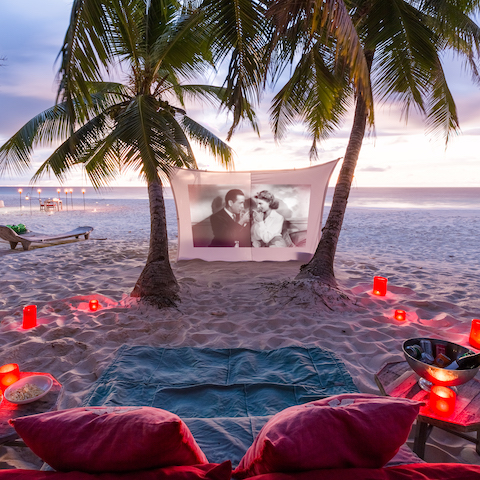 Romantic beach movie night
